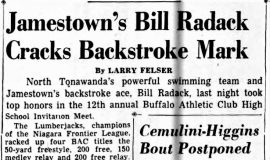 Jamestown's Bill Radack Cracks Backstroke Mark. March 27, 1955.