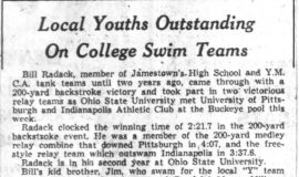 Local Youths Outstanding On College Swim Teams. January 24, 1957.