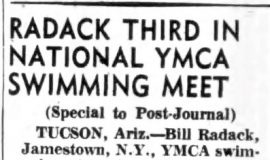 Radack Third In National YMCA Swimming Meet. May 16, 1955.