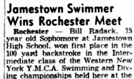 Jamestown Swimmer Wins Rochester Meet.  April 21, 1953.