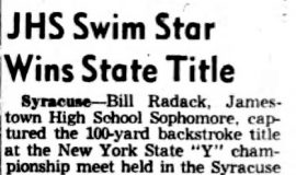 JHS Swim Star Wins State Title. April 27, 1953.