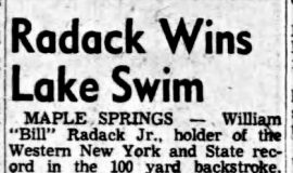 Radack Wins Lake Swim.  July 13, 1953.