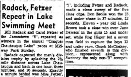 Radack, Fetzer Repeat in Lake Swimming Meet. August 25, 1954.