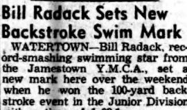Bill Radack Wins Sets New Backstroke Swim Mark. August 3, 1953.