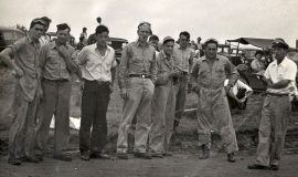 Left to right: Bill Rexford, Floyd Rowland, unknown, Bob Fisher, Wendell Anderson, unknown, unknown, Joe Ott, Mike Day. Photo taken at Penny Royal race track, Leon, NY circa 1948.