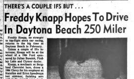 Freddy Knapp Hopes To Drive In Daytona Beach 250 Miler. January 6, 1965.