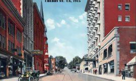 Postcard view of Cherry Street in Jamestown circa 1915