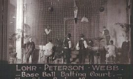 An indoor batting practice court at the Floss Bowling Alleys - Billy Webb instructor, on far left.