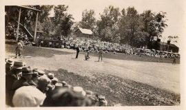 This photo is from June 29, 1930. It shows Billy Webb's Spiders playing against Akron at Celoron Park.