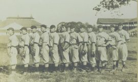 Player-manager Billy Webb is first on left. Note Celoron Park in background.
