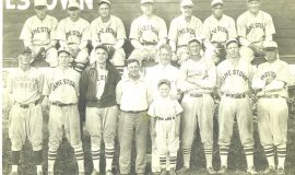 Manager Billy Webb and his 1930 Spiders. Webb is fourth, Swat Erickson is sixth from left and Hugh Bedient last in first row. Joe Nagle is second from left in back row. Vince McNamara, fifth from left in back row, went on to become president of the NY-Penn League.