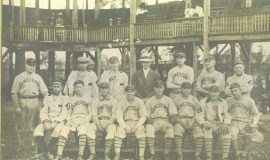 Billy Webb  fourth from left in first row. Note the premiere baseball facility that was Celoron Park. 1910.