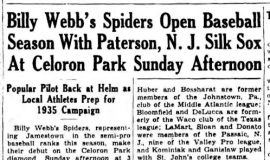 Billy Webb's Spiders Open Baseball Season With Paterson, N.J. Silk Sox At Celoron Park Sunday Afternoon. May 25, 1935.