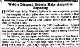 Webb's Diamond Cohorts Make Auspicious Beginning. May 30, 1932.