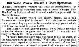 Billy Webb Proves Himself a Good Sportsman. May 31, 1930.