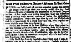 What Price Spiders vs. Braves? Altoona Is Test Case. June 11, 1932.