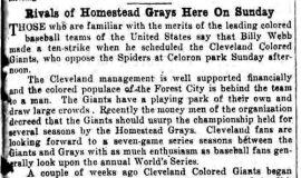 Rivals Of Homestead Grays Here On Sunday. June 14, 1930