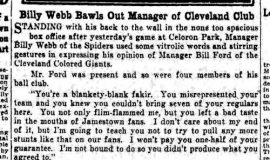 Billy Webb Bawls Out Manager of Cleveland Club. June 16, 1930.