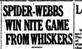 Spider-Webbs Win Nite Game From Whiskers. June 17, 1932.