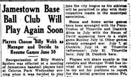Jamestown Base Ball Club Will Play Again Soon. June 20, 1935.