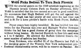 Webb Picks Bedient To Turn Back Phoenix. June 5, 1930.