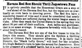 Havana Red Sox Should Thrill Jamestown Fans. July 19, 1930.