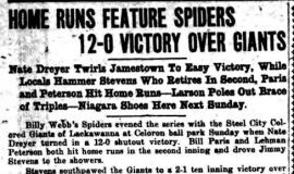 Home Runs Feature Spiders 12-0 Victory Over Giants. July 26, 1924.