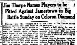 Jim Thorpe Names Players to be Pitted Against Jamestown In Big Battle Sunday on Celoron Diamond. July 27, 1928.
