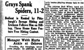 Gray's Spank Spiders, 11-2. August 27, 1928.