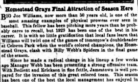 Homestead Grays Final Attraction of Season Here . September 7, 1929.