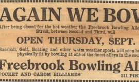 Billy Webb was the assistant manager of the Freebrook Bowling Lanes in 1921 when this newspaper ad ran.