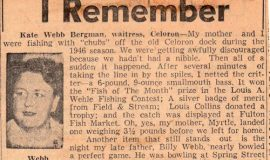 he Sports Highlight I Remember. Kate Webb Bergman is Billy Webb's daughter, 1956.