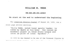 William M. Webb, The Man and His Legacy, by Greg Peterson. Page 1.