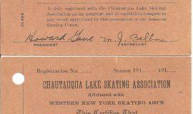 Chautauqua Lake Skating Association registration cards