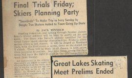 Final Trials Friday. Great Lakes Skating Meet Prelims Ended.