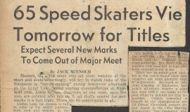 65 Speed Skaters Vie Tomorrow for Titles.