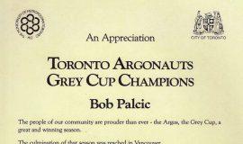Toronto Argonauts Grey Cup Champions certificate.