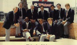 University of Arizona's offensive line coach Bob Palcic seated on right, 1984.