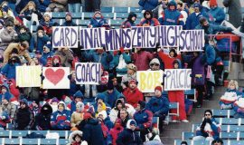 Sign in crowd at Buffalo Bills game at Rich Stadium, 1995.