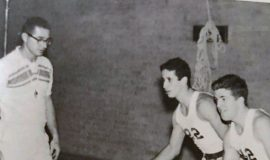 Al Stuhlmiller coaching up Mike Criscione (brother of inductees Pete and Dave) and Bob Patterson at Dunkirk High in 1963.