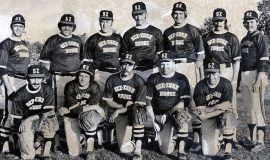 1973 See-Zurh House softball team front row: Pat Traniello, Bob Schmitt, Bob Burns, Ev Matlock, Terry Woodfield back row: Tim Brown, Joe DiMaio, Randy Shenefiel, Ken Martin, Ron Frederes, Dan Harnish, Brian Brown.