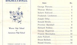 1954 Warren High School vs. Jamestown High School program with team roster.