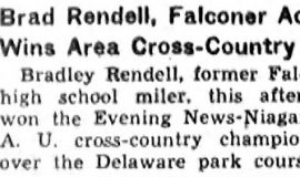 Brad Rendell, Falconer Ace, Wins Area Cross-Country.  December 5, 1936.