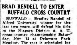 Brad Rendell To Enter Buffalo Cross Country. October 27, 1938.