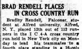 Brad Rendell Places In Cross Country Run. November 24, 1939.