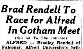 Brad Rendell To Race for Alfred In Gotham Meet. May 24, 1939.