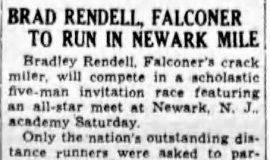 Brad Rendell, Falconer To Run In Newark Mile. May 14, 1937.