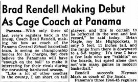 Brad Rendell Making Debut As Cage Coach at Panama. November 30, 1945.