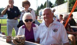 Arlene James, wife of inductee Les James, with Bob Benson.