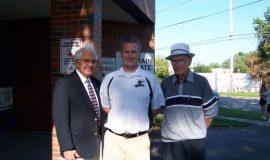 Inductee Russ Diethrick, Matt Drayer and Jim Matthews.